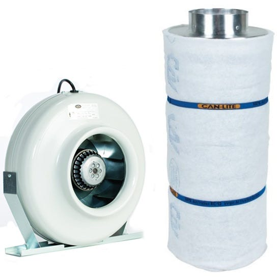 Can-Fan S 6inch + Can Lite Carbon Filter 6 inch x 16 inch Can Fan S 6 - 6 inch Inline Duct Fan 269 CFM The Can Fan S6 6  inline duct fan has a proven centrifugal design. This 6  Can Fan has a built-in power cord, with reliable German engineering and Swiss motors. The RS Series Inline tube fan, durable powder coated steel housing, reverse curve impeller. Can-Fan S Series models bring its innovation to market and sets a new standard for performance. The outstanding performance of Can Fan S fans set them apart from the competition. All utilize the extremely reliable external rotor motor and reverse curvblade. Each fan comes pre-wired with an 8' - 120 volt power cord. 5 year warranty. Can Fan S Series 6  Inline Fan Specifications: RPM: 2750 Matt Watts: 82 Amps: 0.69 @ 115 VAC 60 Hz Diameter: 12.3in Width: 10.74in Weight: 11 lbs Housing: Durable powder coated steel Inlet/Outlet: 6in Can-Lite Carbon Filter 6 inch - 600 CFM CF group has added a new series of canister filters to their already dominant line of activated carbon filters. After years of research and field testing of the light-weight carbon filter, CF group will proudly place their trusted name in air filtration on this new series of filters. The Can-Lite™ has been developed with ease of installation, durability and effectiveness in mind. The Can-Lite™ is manufactured the same way as the Original Can-Filters® (proven packed bed design). The difference is in the carbon; high density carbon is used in the Can-Lite™. Built in flange 10% More Virgin Activated Australian RC Light Weight Granular Carbon than the competition 2  Bed Depth of Pure Virgin Activated Australian RC Light Weight Granular Carbon 51% Perforated Open Area For Maximum Air Flow Up to 2.5 Years Life Expectancy Weight saving aluminum top and bottom Pre filter included Ease of installation with the low overall weight