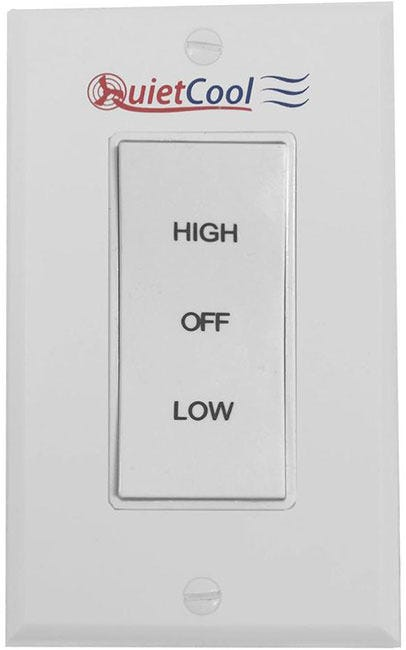 Photograph of QuietCool HIGH/LOW/OFF Rocker Switch & Plate