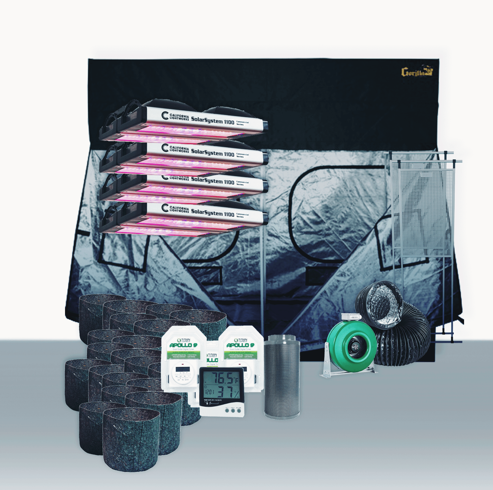 10' x 10' Grow Room 1100W CLW LED Soil Complete Grow Tent Package 10' x 10' Grow Room 1100W CLW LED Soil Complete Grow Tent Package This complete grow room tent package includes everything that you need to get started with discretely growing at home. Experienced growers designed every aspect of this tent package. They chose the parts of this package to create the best grow experience at an affordable price. Included in this Grow Tent Kit: Gorilla Grow Tent 10' x 10' Growers House Carbon Filter 8  x 24  750 CFM Active Air 8 inch In-Line Fan 720 CFM 8 inch x 25' Black Lightproof Ducting w/Clamps Silver Flex Duct Tape -- 120 Yards 2 x Gorilla Gear Board 2 x Hurricane Wall Mount Fan Supreme Series - 16 in 4 x California Light Works Solar System 1100 LED Grow Light 6 x Grow Crew 1/8 inch Ratchet Light Hanger (Pair) 3 x Titan Controls Apollo 9 -- Digital Dual Timer Titan Controls - Spartan Series - 4 Light Controller 240 Volt Grower's Edge Large Display Thermometer & Hygrometer 64 x Growers House Essentials Round Fabric Charcoal Pot - 3 Gallon 64 x Gro Pro Heavy Duty Black Saucer - 12 in Grower's Edge Soft Mesh Trellis Netting 5 ft x 60 ft w/ 6 in Squares General Hydroponics pH Control Kit Gorilla Grow Tent 10' x 10' Gorilla Grow Tents are professionally designed grow tents that are ideal for experts and perfect for beginners. The expert configuration positions ducting ports where they should be. Large EZ View windows offer easy grow snapshots without compromising your environment. The doorways offer 360 degree convenient access. The larger layouts provide frustration free maneuvering. Thick material and large 10  double cinching ducting ports make maintaining an ideal growing space a snap. Grow easy on yourself. Grow Gorilla.GORILLA GROW TENTS are made with 1680D threaded, reflective fabric, which is up to 3 - 9x denser than any other grow tent. This means that they are more light proof, more durable, quieter, stronger, safer, and easily create an undetectable growing en