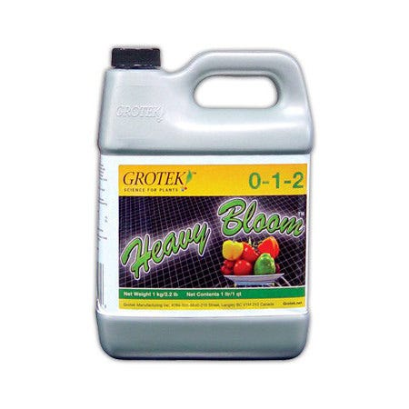 Heavy Bloom 0 - 1 - 2 -- 1 Liter Heavy Bloom™ is a flowering supplement that is specially designed to be used during the reproductive stage of plant growth to help increase the number and size of blooms/fruits and ultimately final yield. For use on all indoor/outdoor flowers, fruits and vegetables. For commercial or home and garden use. Use in conjunction with your regular fertilizer.