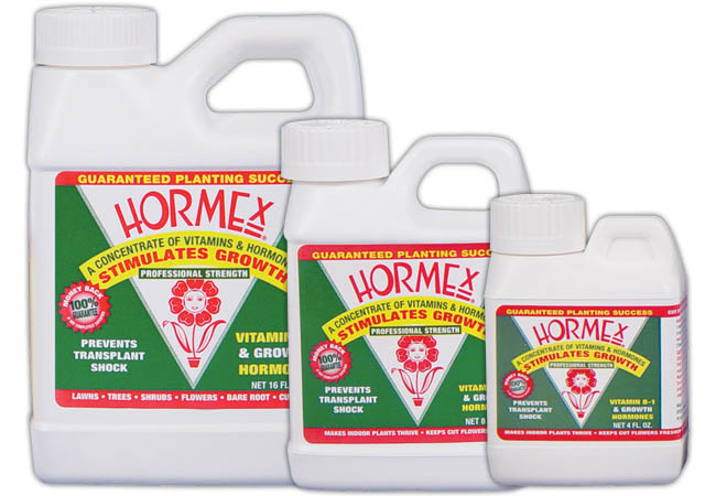 Hormex Concentrate A vitamin, hormone concentrate and root growth stimulant. Hormex® prevents transplant shock by stimulating growth of the small feeder roots, which become damaged during transplanting. Not registered for sale in OR at this time.