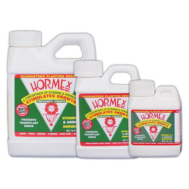 Hormex Concentrate -- Quart A vitamin, hormone concentrate and root growth stimulant. Hormex® prevents transplant shock by stimulating growth of the small feeder roots, which become damaged during transplanting. Not registered for sale in OR at this time.