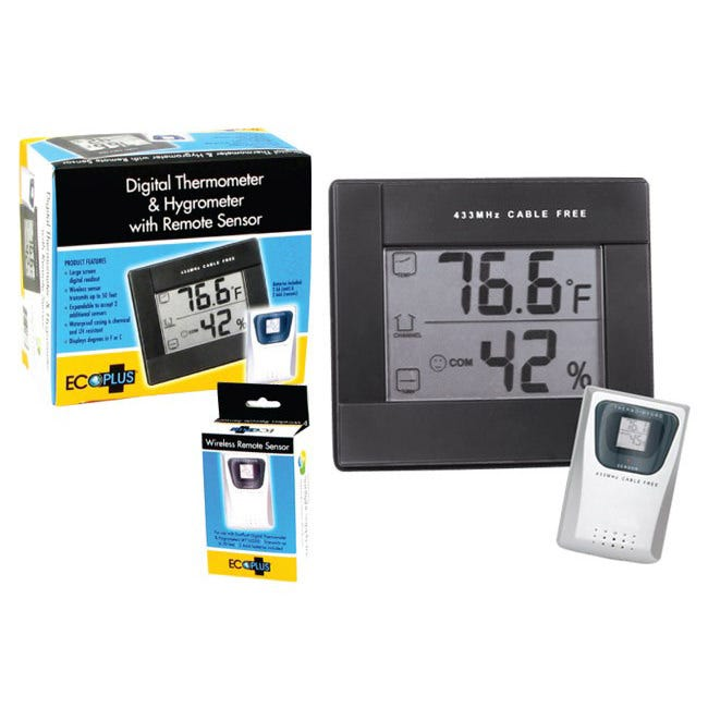 Grower's Edge Digital Thermometer/Hygrometer w/ Remote This digital thermometer/hygrometer comes with one remote sensor and can be read up to 50' from the sensor. This unit is expandable and can accept up to three sensors. Temperature/Hygrometer Display: Large screen digital readout. Wireless sensor transmits up to 50' feet. Expandable to accept 2 additional sensors. Waterproof casing is chemical and UV resistant. Displays degrees in farenheight or celcius. 2 AA batteries included. Wireless Sensor: Transmits up to 50' feet. 2 AAA batteries included.