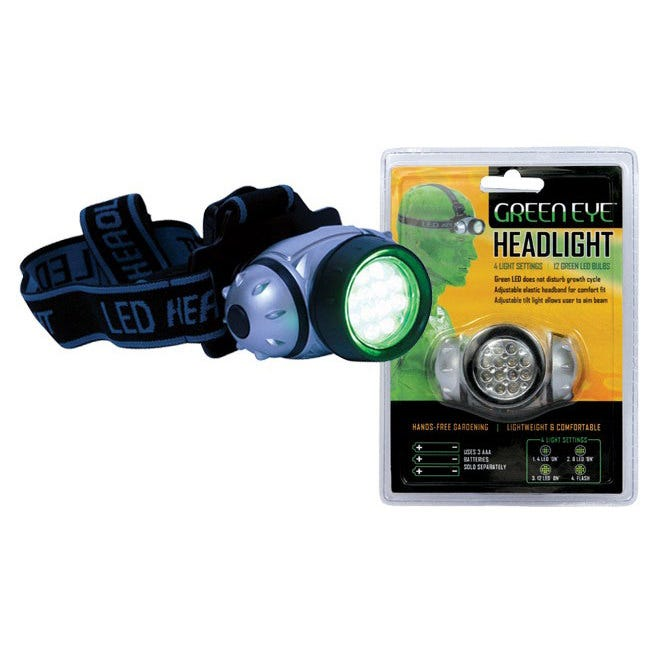 Green Eye LED Headlight Ideal for viewing plants at night without disturbing their growth cycle. The lightweight, compact Green Eye™ Headlight easily adjusts with its elastic band and tilting light mount. Ultra bright LED bulbs with 100,000+ hours of burn time. Customize your lamp settings with one click of the button. The settings are 4 lamps, 8 lamps, all lamps and flashing. Water resistant. Allows hands-free tasking. Use three AAA batteries (not included).