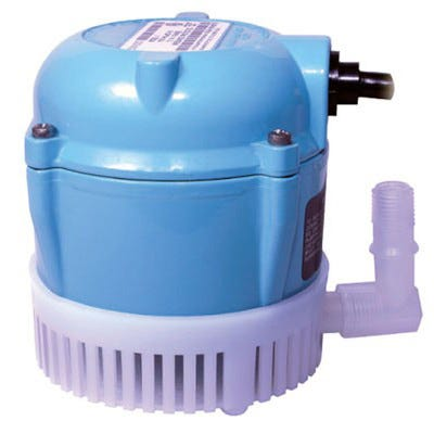 """Little Giant 1 Submersible Pump -- 205 GPH Permanently lubricated pumps for commercial, industrial, and home use where liquid must be transferred or recirculated. Applications include hydroponic systems, water gardens, ponds, aquariums, etc. Epoxy-coated aluminum housing. Bottom inlet has snap-off screen for easy cleaning. 1/4"""" MNPT outlet, with 90° elbow accessory, accepts 1/2"""" I.D. tubing. Bottom intake. Manufacturer Item No. 501003. One year limited warranty."""