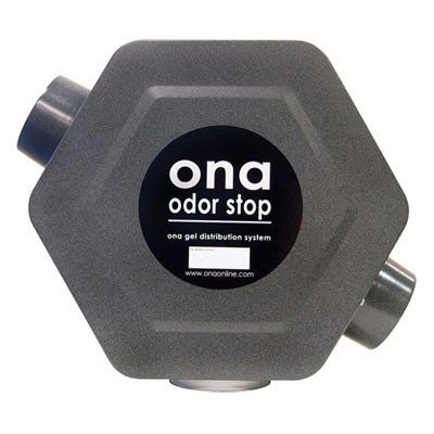 Ona Odor Stop Dispenser -- 225 CFM The ONA Odor Stop is an excellent dispenser fan for medium duty application. It has a high volume of airflow combined with a profile that can be conveniently placed anywhere odor neutralization is required. The Odor Stop features a variable speed fan to distribute ONA Gel up to a maximum airflow of 225 cubic feet per minute (CFM). It provides odor neutralization for a room up to 10,000 sq. ft. It is designed for the 1gallon ONA Gel container, which will last for 4-6 weeks. Easily connects with 4  ports to ventilation systems. The ONA Odor Stop requires a standard 115 volt power source and consumes less power than a 100 watt light bulb. It has 2 - 4  ports to facilitate installment to ventilation systems. The ONA Odor Stop gel dispenser has a variable speed switch to control the amount of air flow. The ONA Odor Stop can be placed anywhere in the room, mounted on the wall or be connected to vents using the 4  input and output ports. The ONA Gel Four Liter Jar (Gallon) is easily attached to the cap on the bottom. Weight: 4.5kgs. (10 lbs.) 2 - 4  output ports Capacity of ONA container: 4 liter jar Maximum output: 225 CFM Power consumption: up to 90 watts Power: 115 volts Cycle: 60 herz