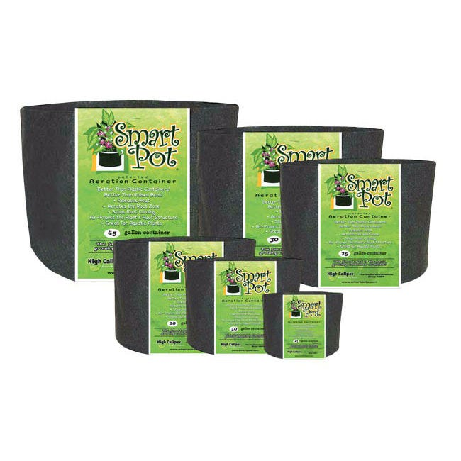 Smart Pots -- 45 Gallon These soft growing containers allow more air to reach the growing medium and roots, improving drainage and keeping the root system from overheating on hot days. Plant roots also benefit from their natural tendency to grow into soft surfaces like the Smart Pot, becoming thick and healthy instead of circling the inside of the pot and becoming root-bound. These pots are aeration containers allowing the air to prune the plant root structure. Simply remove the containers before transplanting. These pots will help plants become established more quickly after transplanting. Why Are Smart Pots Better For Growing? Choosing the best pot for your plants is one of the most important components for successful container gardening. For more then twenty-five years the  Smart Pot  has consistently out performed all other growing containers in both commercial nurseries and university testing. The patented Smart Pot is a soft-sided, aeration container, uniquely designed to improve the root structure of your plants enabling them to grow to their full potential. Smart Pots are better than plastic containers Hard-sided plastic containers are relatively inexpensive but they are not a very good home for a plant's root structure. Plastic allows no aeration, conducts and holds heat, and provides inadequate or poor drainage. Even on mildly sunny days, container soil temperatures can easily top 120 degrees, damaging or killing the roots and stressing the plant. The #1 killer of potted or container grown plants is over watering and plastic containers with a few bottom drainage holes actually help the soil stay too wet. A Smart Pot is constructed of a porous fabric that allows heat to dissipate and excess water to evaporate. In fact, over-watering is never a problem because excess water drains and evaporates from all of the Smart Pot's surfaces; its walls as well as its bottom. Because the Smart Pot is a fabric container, giving the root ball total aeration and excellent 