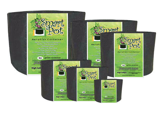 Smart Pots - Commercial Bulk Cases Commercial Bulk Case Quantities! This product has been tested and is verified BPA Free and Lead Free. These soft growing containers allow more air to reach the growing medium and roots, improving drainage and keeping the root system from overheating on hot days. Plant roots also benefit from their natural tendency to grow into soft surfaces like the Smart Pot, becoming thick and healthy instead of circling the inside of the pot and becoming root-bound. These pots are aeration containers allowing the air to prune the plant root structure. Simply remove the containers before transplanting. These pots will help plants become established more quickly after transplanting. Why Are Smart Pots Better For Growing? Choosing the best pot for your plants is one of the most important components for successful container gardening. For more then twenty-five years the  Smart Pot  has consistently out performed all other growing containers in both commercial nurseries and university testing. The patented Smart Pot is a soft-sided, aeration container, uniquely designed to improve the root structure of your plants enabling them to grow to their full potential. Smart Pots are better than plastic containers Hard-sided plastic containers are relatively inexpensive but they are not a very good home for a plant's root structure. Plastic allows no aeration, conducts and holds heat, and provides inadequate or poor drainage. Even on mildly sunny days, container soil temperatures can easily top 120 degrees, damaging or killing the roots and stressing the plant. The #1 killer of potted or container grown plants is over watering and plastic containers with a few bottom drainage holes actually help the soil stay too wet. A Smart Pot is constructed of a porous fabric that allows heat to dissipate and excess water to evaporate. In fact, over-watering is never a problem because excess water drains and evaporates from all of the Smart Pot's surfaces; its walls as well as its bottom. Because the Smart