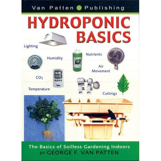 Hydroponic Basics - Soilless Garden Indoor by George F. Van Patten This simple, little book is packed with information on hydroponic gardening. The graphic color, layout, and design helps guide a hydroponic gardener through basic plant science and environment to purchasing a garden and appropriate supplies. Plans for making your own hydroponic garden, nutrient deficiencies, plant problems, and growing a garden, beginning to end, are all included in this invaluable guide. Soft cover 80 pages.