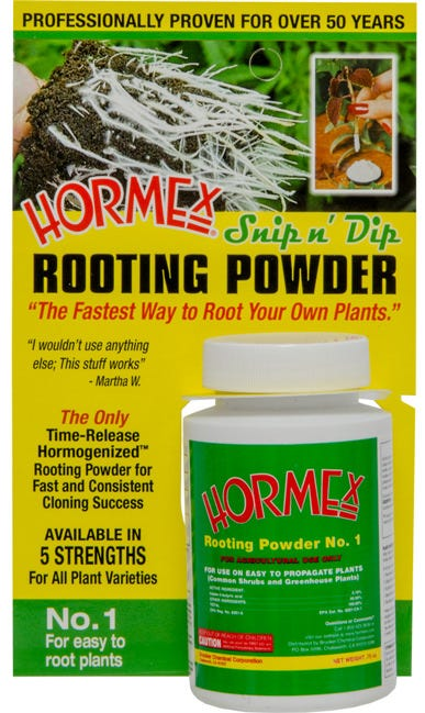 Hormex Snip'n Dip #1 - .75 oz Carded Bottle Hormex Rooting Powdered rooting compound is economical and effective. The fastest way to start new plants from cuttings. Encourages quick root development faster and healthier growth of new roots from cuttings. Grows new African violets, roses, poinsettias, geraniums and most other popular home, garden and greenhouse varieties.