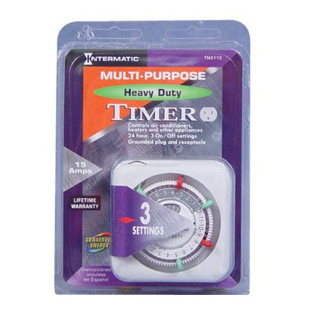 Intermatic Multi-Purpose Heavy-Duty Plug-In Timer TN311 This heavy duty, grounded timer is ideal for automatically controlling air conditioners, personal computers, heaters, heavy-duty appliances and HID lighting fixtures. It plugs directly into a wall outlet. Featuring 3 ON/3 OFF settings per day, 3-prong grounded plug and receptacle and a manual override on/off switch. TN311 - 1875W/120/1H.P./120V Maximum motor load. Instructions