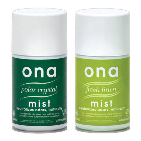 Ona Mist -- Polar Crystal -- 6 oz ONA Mist comes conveniently packaged in aerosol cans for use wherever odors occur. The ONA Mist cans hold 170 grams or 6 ounces of ONA, and are small enough to store practically anywhere. ONA is very powerful and will neutralize odors in garages, restaurants, bathrooms, hotel rooms, kitchens, smoking rooms, or any place in your home or small business facility.