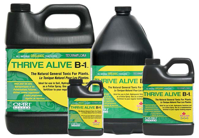 Thrive Alive B-1 Green Thrive Alive is a power-packed preventative and restorative general purpose plant tonic. Thrive Alive stimulates rapid and lush vegetative growth and will ensure the success of floral crops by promoting profuse flowering during blossoming. Its professionally balanced formulation contains vitamins and nutrients, which are cultured in premium quality British Columbian sea kelp. Thrive Alive is safe and easy to use for both hydroponic and soil applications, facilitating vigorous and healthy root development for both cuttings and established root systems, while protecting plants from transplant-related shock. Thrive Alive can be used as a soil drench when taking cuttings, and in conjunction with Rootech Cloning Gel, will quickly build viable root systems and initiate rapid stem and shoot growth. As a rejuvenator, Thrive Alive can be utilized prior to taking cuttings, ensuring healthy mother plants that will continue producing new shoots. Thrive Alive is also an outstanding foliar application in the house and garden for promoting a plant's full potential. When used weekly as a foliar spray throughout the vegetative cycle and into the first week of flowering, it nurtures a  green up  effect which keeps leaves strong and lush. Ideal for all types of gardening, Thrive Alive is an original Canadian formulation unequalled in quality, consistency, and strength.