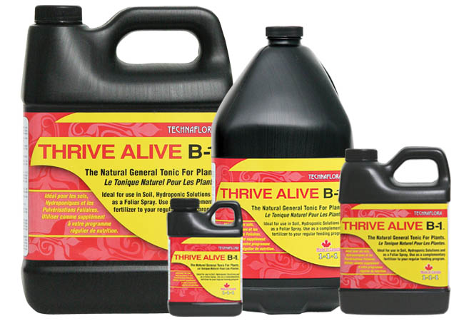 Thrive Alive B-1 Red Thrive Alive B-1™ is a power packed preventative and restorative general-purpose plant tonic. It stimulates rapid and lush vegetative growth, and will ensure the success of floral crops by promoting profuse flowering during blossoming. Its formulation contains vitamins and nutrients, which are cultured in premium sea kelp. Thrive Alive™ facilitates vigorous and healthy root development for both cuttings and established root systems, while protecting your plants from transplant-related shock.