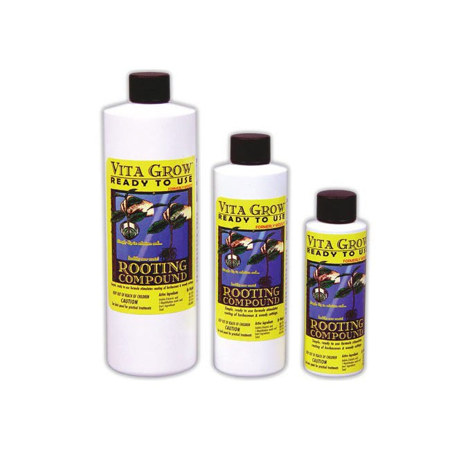 Vita Grow Rooting Compound -- 4 oz A quick 3 second dip of the cutting's stem into Vita Grow RTU Rooting Compound before placing it into your favorite growing media is all you need to start the growth of healthy new roots. This unique and special recipe drives growth hormones into the plant's stem and won't wash or wipe off like gels do. This makes it a great choice for aeroponic cutting/cloning machines. EPA Registration No.: 68719-2 Not for sale in CA at this time.