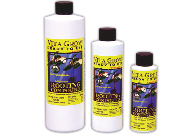 Vita Grow Rooting Compound A quick 3 second dip of the cutting's stem into Vita Grow RTU Rooting Compound before placing it into your favorite growing media is all you need to start the growth of healthy new roots. This unique and special recipe drives growth hormones into the plant's stem and won't wash or wipe off like gels do. This makes it a great choice for aeroponic cutting/cloning machines. EPA Registration No.: 68719-2 Not for sale in CA at this time.