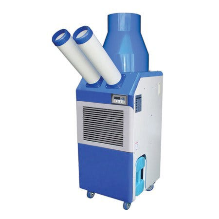 Ideal-Air Commercial Portable A/C - 21,000 BTU - DISCONTINUED 240 volt/11 amps./Nema Plug: 6-15P. Size: 22  W x 24.4  D x 50.4  H. Weight: 198 lbs. Refrigerant Type: R410A. Operating conditions is 64° - 105° F. Hot air duct diameter is 16 . Maximum duct length is 25'. Recommended max room size: 250 sq. ft. and max wattage of lights: 7,000. Ambient air temperature & individual room conditions will affect performance. There is no air exchange between the air being cooled & the air used to cool the machine. One year warranty. Note: All Ideal-Air Air Conditioners need surge protection. In the event of a power failure, a spike in voltage may occur when the power is reinstated. This can damage the circuit board which is not covered under the warranty. Instructions