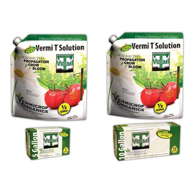Vermi T Retail Kits -- 10 Gallon Vermi T Bio-Cartridge Retail Kits are designed for a retail store to have a convenient way to offer freshly extracted microbial rich solution to their customers. These kits come with everything you need to make Vermi T and a correct volume of labeled containers to refrigerate and sell as a shelf able product. These are not typically sold as a kit to end user but rather sold as a ready to use concentrate in half gallon increments. 720730 includes: (4) 5 gallon bio-cartridges, (40) Eco friendly ½ Gallon bag bottles.