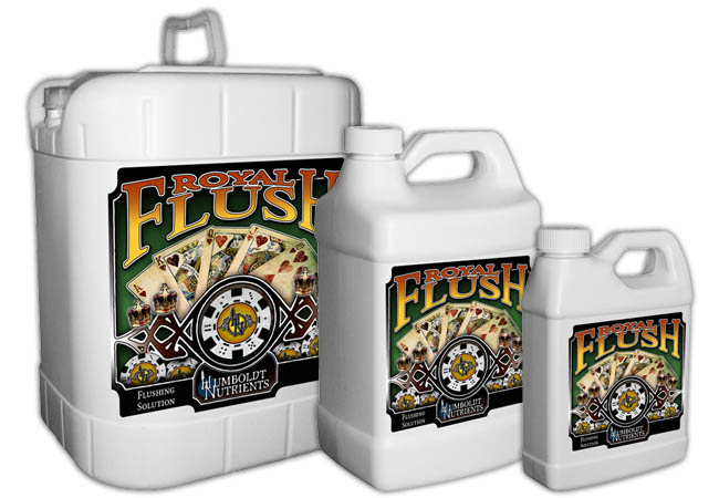 Humboldt Nutrients Royal Flush Try Humboldt Nutrients Royal Flush today and experience the difference between a flush and a Royal Flush with a clean, sweet finish. Royal Flush can be applied to all crops including vegetable crops, row crops, field crops, trees, vines, ornamentals, and gardens and landscaping. Royal Flush is a salt-eliminating, finishing solution for all plants growing in soil, potting mixes, soil-less rooting media, hydroponics and other gardens. Royal Flush can be used by the indoor and outdoor home gardener for all varieties of plants, such as flowers, vegetables, herbs, trees, berries, shrubs, ornamentals, annuals and perennials. Royal Flush is applied to all of your favorite plants in the final weeks of bloom. By flushing the crops when a gardener feels it is needed, heavy elements and salts are removed from the plant, allowing for more aromatic and flavorful fruits and flowers. Royal Flush supercharges your flush, binding and removing undesirable salts and heavy minerals, making a more pungent, aromatic and flavorful crop. Directions: Hydroponic applications: Drain to waste: Use 5-10ml of Royal Flush per gallon of pure water in your reservoir and run system. Additionally top-feed each plant 1-2 quarts of the water/ Royal Flush solution. Recirculating: Use 5-10ml of Royal Flush per gallon of pure water in your reservoir and run the system for an initial 20-60mins. As you finish out the bloom stage continue to run Royal Flush solution through your system. General Application: Use 5-10ml of Royal Flush per gallon of pure water.