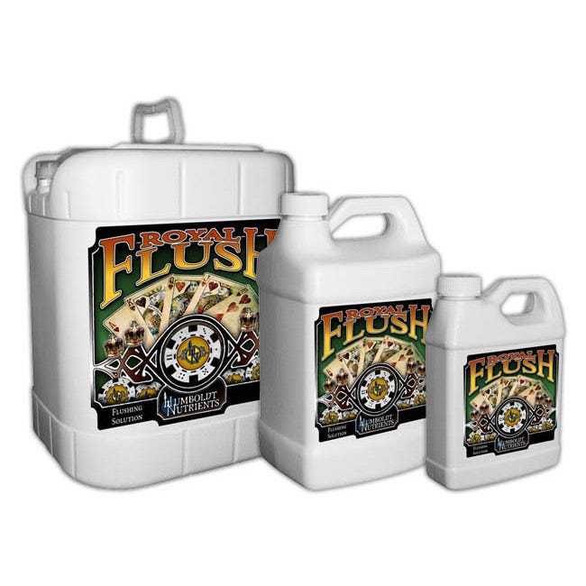 Humboldt Nutrients Royal Flush -- 5 Gallon Try Humboldt Nutrients Royal Flush today and experience the difference between a flush and a Royal Flush with a clean, sweet finish. Royal Flush can be applied to all crops including vegetable crops, row crops, field crops, trees, vines, ornamentals, and gardens and landscaping. Royal Flush is a salt-eliminating, finishing solution for all plants growing in soil, potting mixes, soil-less rooting media, hydroponics and other gardens. Royal Flush can be used by the indoor and outdoor home gardener for all varieties of plants, such as flowers, vegetables, herbs, trees, berries, shrubs, ornamentals, annuals and perennials. Royal Flush is applied to all of your favorite plants in the final weeks of bloom. By flushing the crops when a gardener feels it is needed, heavy elements and salts are removed from the plant, allowing for more aromatic and flavorful fruits and flowers. Royal Flush supercharges your flush, binding and removing undesirable salts and heavy minerals, making a more pungent, aromatic and flavorful crop. Directions: Hydroponic applications: Drain to waste: Use 5-10ml of Royal Flush per gallon of pure water in your reservoir and run system. Additionally top-feed each plant 1-2 quarts of the water/ Royal Flush solution. Recirculating: Use 5-10ml of Royal Flush per gallon of pure water in your reservoir and run the system for an initial 20-60mins. As you finish out the bloom stage continue to run Royal Flush solution through your system. General Application: Use 5-10ml of Royal Flush per gallon of pure water.
