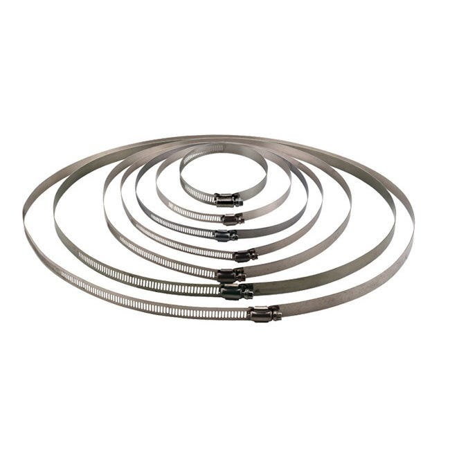 These stainless steel hose clamps are perfect for attaching flexible ducting to air cooled hoods, exhaust fans, filters and silencers. They are simple to use and make for a clean duct connection. Conveniently packaged 2 per bag.