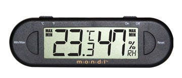 MONDI Mini Greenhouse Thermo-Hygrometer The Mondi Mini Greenhouse Thermo-Hygrometer mounts to the side of your mini greenhouse and reads temperature and humidity inside the dome.It ensures that plants get the start they need by providing growers with the essential real-time information necessary to produce large quantities of healthy plants.In addition to its many uses in the horticultural industry, the Mondi Mini Greenhouse Thermo-Hygrometer has a wide range of applications, such as room environment, food safety, and pet care. Features Displays current temperature adn humidity as well as min/max temperature and humidity history Celsius and Fahrenheit Made from premium Japanese components and technology Specs INDOOR TEMPERATURE MEASURING RANGE: -9.9°C TO 50°C (15.8°F TO 122°F) INDOOR HUMIDITY MEASURING RANGE: 25% RH TO 98% RH POWER: L1154H BATTERY X 1 PIECE (Included) WEIGHT: 25.5 grams / 0.9 oz - WIDTH: 130mm / 5.1in - HEIGHT: 30mm / 1.1in