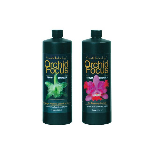Orchid Focus Grow - Special Order -- 32 oz Orchid Focus™ Grow Formula encourages vigorous growth in orchids and is suitable for all species and hybrids, almost all of which will benefit from a regular feeding schedule. This is especially applicable when preparing plants for exhibition or sale. Orchid Focus™ Grow Formula has higher levels of nitrogen, derived from nitrates, which promote the growth of healthy shoots and leaves. Orchid Focus™ Grow Formula has a guaranteed NPK ratio of 2.0 - 0.6 - 2.0, derived from pure mineral salts including calcium nitrate, potassium nitrate, monopotassium phosphate and potassium sulfate. Orchid Focus™ Grow Formula contains NO ammonia or urea. Orchid Focus™ Grow Formula also contains .25% Humic Acids, derived from Leonardite. Directions for Use General Use - Shake well before using! Mix 2 teaspoons of Orchid Focus™ Grow Formula per gallon of water. Apply weekly throughout the vegetative period of growth. Flush roots with fresh water once a month to avoid salt build-up. For foliar feeding use at 1/2 strength.