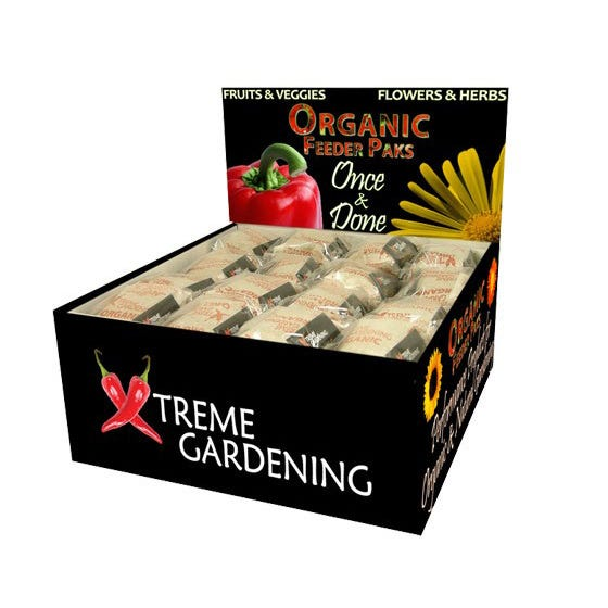Xtreme Gardening Organic Feeder Paks Six Pack Display *DISCONTINUED* Designed for point of purchase display. Includes six organic nutrient packets per package. Attractive display box contains 64 packages. Organic & Natural Feeder Paks are 9g biodegrable packets of 8-4-4 organic fertilizer that feed a plant for up to a year. Application is simple: just add one pak per plant at transplant, and you're done. Organic & Natural Feeder Paks are available in 20 and 50 count bags, and also as a 6pak for stores, designed as a link-sale with a tray of transplants. Organic & Natural Feeder Paks can be used on anything, from tomatoes to squash, zukinis to peppers, and basil to oregano