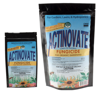 Actinovate Lawn & Garden Fungicide Actinovate for Lawn & Garden contains a high concentration of a patented beneficial microorganism. When applied, the Actinovate microbe grows on the plant's roots and leaves, living off the plant's by-products while at the same time attacking harmful disease causing pathogens. This natural product effectively suppresses & controls a wide range of foliar and root diseases. This product is OMRI-listed for use in organic gardening. One 2 ounce bag treats 5,000 square feet of lawn or 550 plants. Actinovate controls the following lawn diseases: Brown Patch (Rhizoctonia), Dollarspot (Sclerotinia), Take-all Patch (Gaeumannomyces graminis) & Pythium Blights; the following root diseases in ornamentals and vegetables: Pythium, Phytophthora, Rhizoctonia, Verticillium & Fusarium Late Blight; the following foliar diseases: Powdery Mildew, Downy Mildew, Grey Mold (Botrytis), Fire Blight (Erwinia), Leaf Spots and Rusts & Black Spot (Diplocarpon rosae). EPA Reg. No. 73314-1.