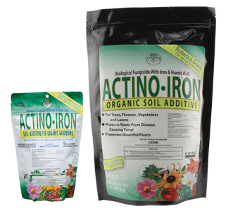 Actino-Iron 0 - 0 - 0 *DISCONTINUED* This item has been discontinued. We recommend Actino-Iron® is a unique granular soil additive that combines the Actinovate® organic fungicide with organic iron and humates. It is a professional product that is used by thousands of commercial greenhouses, nurseries and landscapers for controlling root diseases and providing long term greening. Turn retail potting soil into professional grade by adding Actino-Iron®. EPA Reg. No. 73314-2.