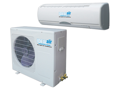 Ideal-Air Mini Split A/C Unit - 24,000 BTU Cooling Only *DISCONTINUED* Ideal-Air 13 SEER efficient mini split air conditioning unit for indoor growing. Handles between four and eight 1000 HID fixtures. Quick Connect. Maximum Amperage: 10 Need help finding out how many BTU's of cooling power you need for your grow room? Use the Air Conditioner Cooling Calculator to know exactly what you need. Ideal Air mini split air conditioners are designed for heating/cooling with outside temperatures ranging from 5º to 105º F. Use of unit outside these temperature ranges is not recommended. Improper usage relating to outside temperature is not covered under warranty. Can be used with the optional programmable thermostat with up to 4 temperature settings each day. (see related products) Flexible stainless steel pre-charged 23' line set with quick connect fittings allows for easy Do It Yourself installation. No technician required. Now with optional day/night mode. High energy efficiency performance: 13 SEER air conditioner. Line sets are pre-vacuumed and pre-charged with R104A refrigerant. You can keep them charged if you need to move it. Call for more information. SImply hook up the quick connect's and open the service valves, tighten and check for leaks. Must have a dedicated power circuit. Auto restart after power failure. One year manufacturer warranty. 12,000 BTU Unit Cooling Power/Capacity: 8.9 amps/1,180 watts/12,000 BTU. dB Rating: Indoor 38 dB, Outdoor 45 dB. Requires 120 volt dedicated 15 amp circuit. 24,000 BTU Unit Cooling Power/Capacity: 10 amps/2,200 watts/24,000 BTU. dB Rating: Indoor 32 dB, Outdoor 45 dB. Requires 240 volt dedicated 15 amp circuit. 36,000 BTU Unit Cooling Power/Capacity: 14 amps/3,000 watts/36,000 BTU. dB Rating: Indoor 40 dB, Outdoor 50 dB. Requires 240 volt dedicated 20 amp circuit. Instructions