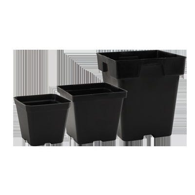 Premium Square Black Plastic Pots -- 4 inch x 4 inch x 3.5 inch These pots are durable and versatile. They are injection molded containers manufactured with high-grade polypropylene. They feature a tag locator slot for the uniform display of stick tags.