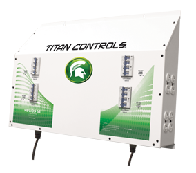 Titan Controls Helios 16 -- 16-Light Controller 240V - Dual Trigger Cords The Helios 16 The Helios 16 - Sixteen (16) light controller with timer provides up to 16,000 watts of lighting control. This 'Professional Series' commercial lighting controller is built using industrial grade Allen Bradley components, one of the most respected names in the industry! And it's built right here in the USA! Titan Controls continues to bring you the top quality controllers that you've come to expect. Gardening with the gods, what could be better! This controller will operate sixteen (16) HID lights at 240 Volts. The only lighting controllers featuring industrial-grade Allen Bradley circuit breakers and ballast rated relays. Two (2) 'trigger' cord sets activate lighting controller via external timers. Sequenced lighting delays for each light bank. Duplex outlets have circuit breaker protection. NEMA 6-15 UL Listed power outlets. 80 Amps/240 Volts/60 Hz./16,000 Watts. Manufactured in the USA! 3 year warranty Titan Controls Helios 15 Instructions Warranty is void if non-copper wiring is used. It is recommended that you re-tighten all connections every 60 to 90 days to avoid possible arcing and potential input terminal meltdown. Arcing power due to loose connections is not covered under warranty.
