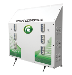 Titan Controls Helios 17 - 24 Light 240V Controller with Dual Trigger Cords The Helios 17 The Helios 17 - Twenty-four (24) light controller with timer provides up to 24,000 watts of lighting control. This 'Professional Series' commercial lighting controller is built using industrial grade Allen Bradley components, one of the most respected names in the industry! And it's built right here in the USA! Titan Controls continues to bring you the top quality controllers that you've come to expect. Gardening with the gods, what could be better! This controller will operate twenty-four (24) HID lights at 240 Volts. The only lighting controllers featuring industrial-grade Allen Bradley circuit breakers and ballast rated relays. Two (2) 'trigger' cord sets activate lighting controller via external timers. Sequenced lighting delays for each light bank. Duplex outlets have circuit breaker protection. NEMA 6-15 UL Listed power outlets. 150 Amps/240 Volts/60 Hz./24,000 Watts. Manufactured in the USA! 3 year warranty Titan Controls Helios 17 Instructions Warranty is void if non-copper wiring is used. It is recommended that you re-tighten all connections every 60 to 90 days to avoid possible arcing and potential input terminal meltdown. Arcing power due to loose connections is not covered under warranty.