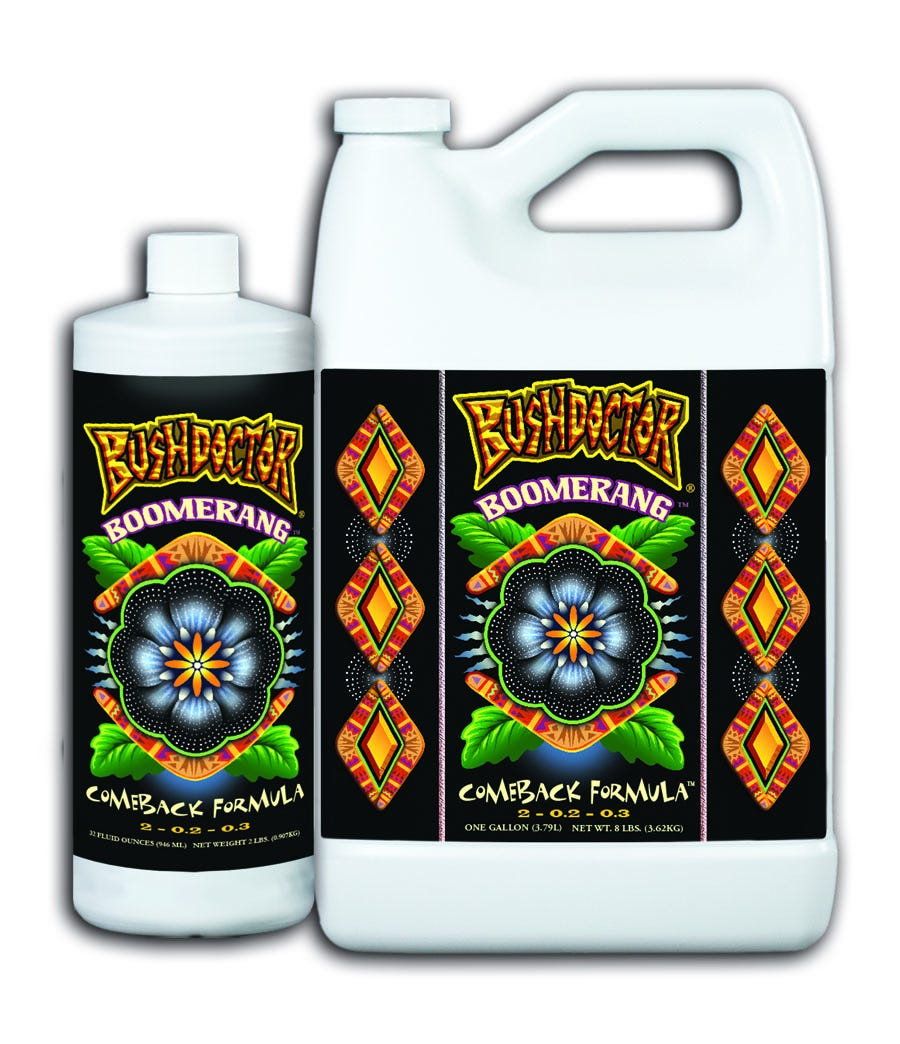 """Bushdoctor Boomerang Boomerang's™ microbial-based formula helps heal damaged root tissue while encouraging new root growth and vegetative growth. It contains solubilized organic nutrition that is immediately available for amazingly fast recovery of stressed plants; Boomerang™ can also be used as a vegetative supplement. Even Mother Nature needs a little help sometimes. Bush Doctor® Boomerang™ is the """"Comeback Formula"""" that gives your plants a fighting chance. FoxFarm Hydroponic Feeding Schedule"""