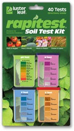 Rapitest Soil Test Kit by Luster Leaf - Model 1601 Balncing your soil is necessary for healthy plant growth. TheRapitest soil test kit lets you information you need for yourplants to grow their best. This complete soil test kit includes instructions on how to test and adjust pH as well testing for levels of Nitrogen, Phosphorous, and Potassium (NPK). For the beginner or expert, a table is included with fertilization and pH guidelines for over 450 plantsin home or outdoors. No matter where you garden in soil, the Rapitest soil test kit will be an ivaluable tool. 40 tests: 10 each for pH, nitrogen, phosphorus and potash. Patented color comparator system.