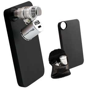Grower's Edge iPhone 4/4S Case with LED Pocket Microscope - 60x *DISCONTINUED* This item has been discontinued, Please try our selection of Microscopes, Cameras for an alternative. Attach microscope to the included iPhone case to take pictures with your iPhone's built in camera. Protective storage case for detachable microscope when not in use. Images are stored in your iPhone's photo library. Great for record keeping and photo sharing. 60x magnification power. Compatible ONLY with iPhone 4/4S. Growers Edge iPhone Microscope Case Guide PDF