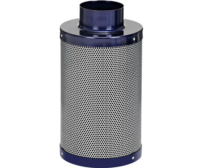 Active Air Carbon Filter 4 x 14 in - 230 CFM Active Air Carbon Filters are loaded with virgin activated Australian Granular Carbon. This carbon absorbs VOC's (volatile organic compounds) thus trapping every odor molecule that passes through the filter onto the micro-porous carbon surface! These filters are light weight and incredibly effective at removing the most potent and heavy odors. Each filter is machine packed and includes a pre-filter. Features Attached flange 1.8  carbon bed depth Powder coated aluminum tops & bases 2-year life expectancy