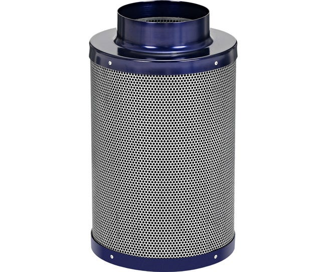Active Air Carbon Filter 6 x 16 in - 400 CFM Active Air Carbon Filters are loaded with virgin activated Australian Granular Carbon. This carbon absorbs VOC's (volatile organic compounds) thus trapping every odor molecule that passes through the filter onto the micro-porous carbon surface! These filters are light weight and incredibly effective at removing the most potent and heavy odors. Each filter is machine packed and includes a pre-filter. Features Attached flange 1.8  carbon bed depth Powder coated aluminum tops & bases 2-year life expectancy