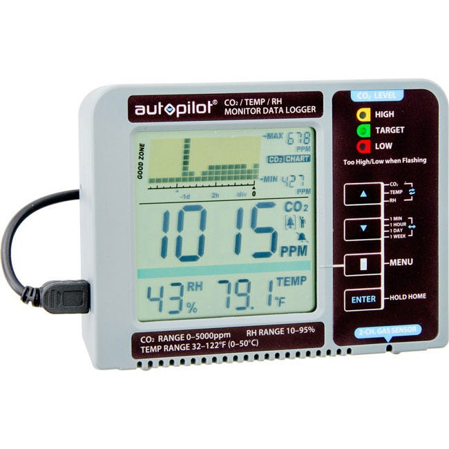 Autopilot Desktop CO2 Monitor Accuracy, innovative features, and unbeatable affordability in one small, user-friendly CO2 monitor. To deliver its measurements, the Autopilot APCEM2 Desktop CO2 Monitor features a clear display system that boasts a digital chart of memory-logged CO2, relative humidity, and temperature readings over an adjustable 24-hour or 24-day period. With the industry-new feature Trend Chart, the device is able to trace the above quantities through past minutes, hours, or up to 7 days. The Autopilot APCEM2 Desktop CO2 Monitor is patent pending, featuring a hook-and-loop fastener along the back that can securely affix a rectangular external battery pack. By maximizing mobility, the device can be easily moved to any room—living room, kitchen, office—to monitor IAQ virtually anywhere. The Autopilot APCEM2 Desktop CO2 Monitor can be powered by almost any standard USB port that provides power, such as a laptop, a wall adapter, or an external mobile battery pack (PowerBank). battery pack and computer not included. Features: CO2/RH/Temperature monitor on a clear display Trend Chart: shows variable Min/Hr/Day/Wk for readings of CO2/RH/Temperature 2-Channel Low Drift NDIR (non-dispersive infrared) Gas Sensor Audible alarm for low/high CO2 levels Alarm function for environmental extremes 3 Multicolored LEDs for Easy Reading Built-in directory of common plant types of their general CO2 requirements; two slots for custom plant inputs Replenish CO2 Reminder: calculates time frame based on usage from past 5 days  Green  Power Supply that is compatible with a standard smartphone charger View charts as weekly, daily, hourly, or per minute Additional settings measure air quality for breathing PPM settings for tomatoes, cucumbers, and more Multiple options for hanging, mounting or desktop display Comes with two Micro USB Cables for power USB AC adapter
