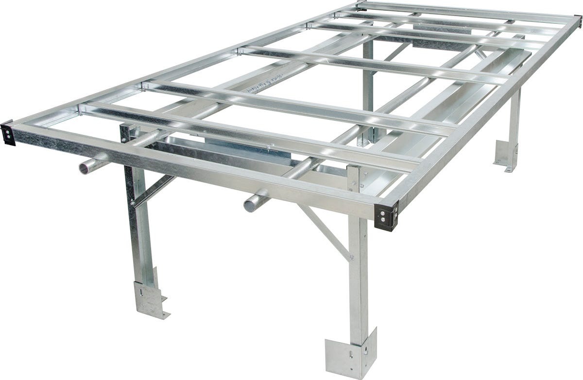 4 and 39 x 8 and 39 Rolling Floating Aisle Bench System Stand