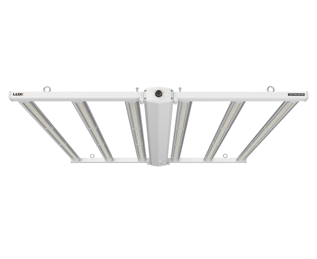 Luxx 645w LED Pro 120-277v Luxx Lighting is proud to announce the new 645w LED PRO. Like all of our lights, the new LED was built on the principle of design, test & repeat. The LUXX 645 LED PRO has been developed by assessing SMD (Surface Mount Device) chips and drivers from leading manufacturers in controlled test applications and cultivation facilities for +3 years. The LUXX 645 LED PRO is made up of Samsung horticulture whites / blues and Osram reds. The respective companies lead the field in LED R&D, delivering high efficiency, reliability & diode performance. The LUXX 645 LED PRO deploys a lens angle of 120 degrees, from a 6 bar design, with a total of 2,226 diodes. 6 bar IP66 Waterproof Mounts to Unistrut UL/ ETL Listed Manual & Auto Dimming All in one design Plug & Play Foldable & Locking design 5-year warranty The LUXX 645 LED PRO features manual and auto power adjustment. Delivering the flexibility to dim the unit down to 40% total power for lower photon intensity, without affecting the quality of the spectrum.