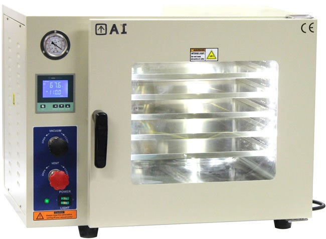 Across International - Accu Temp Vacuum Drying Oven / Degassing Oven - 1.9 Cu Ft Introducing the new Ai AccuTemp 1.9 cubic foot vacuum ovens (110V only), come standard with stainless steel tubing, stainless steel vacuum & vent valve, oil-filled vacuum gauge, 5 sided pad heating technology and two year warranty. The thermal-conductive aluminum pan shelves provide excellent temperature uniformity inside the chamber, while standard is the 3rd gen LCD low proportional gain temperature controllers keep your oven temperature within +/- 1°F accuracy, in either °F or °C. In a vacuum drying oven, thermal processes occur in an airtight chamber where a desired level of vacuum has been applied using an external vacuum pump. With a vacuum oven the entire application can take place under vacuum or a controlled atmosphere can be created through the introduction of an inert gas. Vacuum ovens are used in a variety of ways. Such as helping to prevent surface reactions (such as oxidation), sample decontamination (such as removing lubricants), as well as for speeding up the out gassing process. When determining the process you will use for a vacuum oven bear in mind that you will need to size a pump to meet this application. This requires defining the appropriate chamber size, the level of vacuum desired, and how quickly you will need to reach that desired vacuum level. An important consideration is what type of material will be processed. The Across International vacuum ovens come standard equipped with silicone gaskets. While these gaskets resist a wide variety of temperatures and pressures they can breakdown in the presence of solvents and acids. Below are some sample vacuum oven applications. Butane/ethanol evaporation Out gassing liquids Moisture determination Out gassing solids Aging tests Plating Chemical resistance studies Desiccating Dry sterilization Vacuum storage Electronic process control Drying of paper, rubber, and textiles AccuTemp-19 series digital desktop vacuum ovens