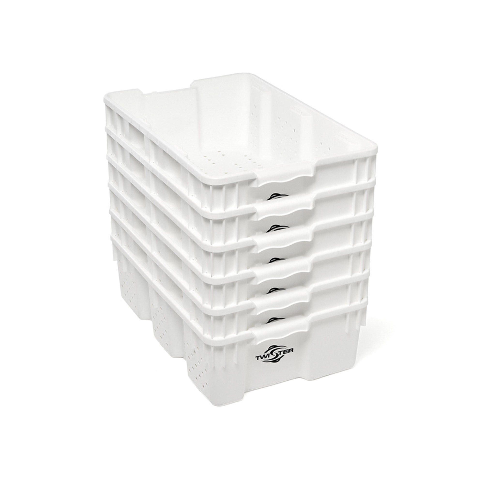 Twister Stackable Handling Tray - 10/Pack These trays from Twister are perfect for handling and freezing product. Designed to stack on top of each other for maximum airflow, you can easily stack 50 of these ventilated trays per palette for easy storage and movement to and from rooms or locations. High-density food-grade polyethylene is 100% freezer and dishwasher safe. Maximum durability. Trim straight into these bad boys!! Features Will stack and nest with 180-degree turn Containers will nest at a ratio of 2.5:1 Ventilation holes on sides & bottom U. V. stabilized Easy access handles Freezer safe 100% recyclable material Food-grade high-density polyethylene Dishwasher safe Dimensions 24  X 15.75  X 7.25  (OD) 22.64  X 14.76  X 7.09  (ID)