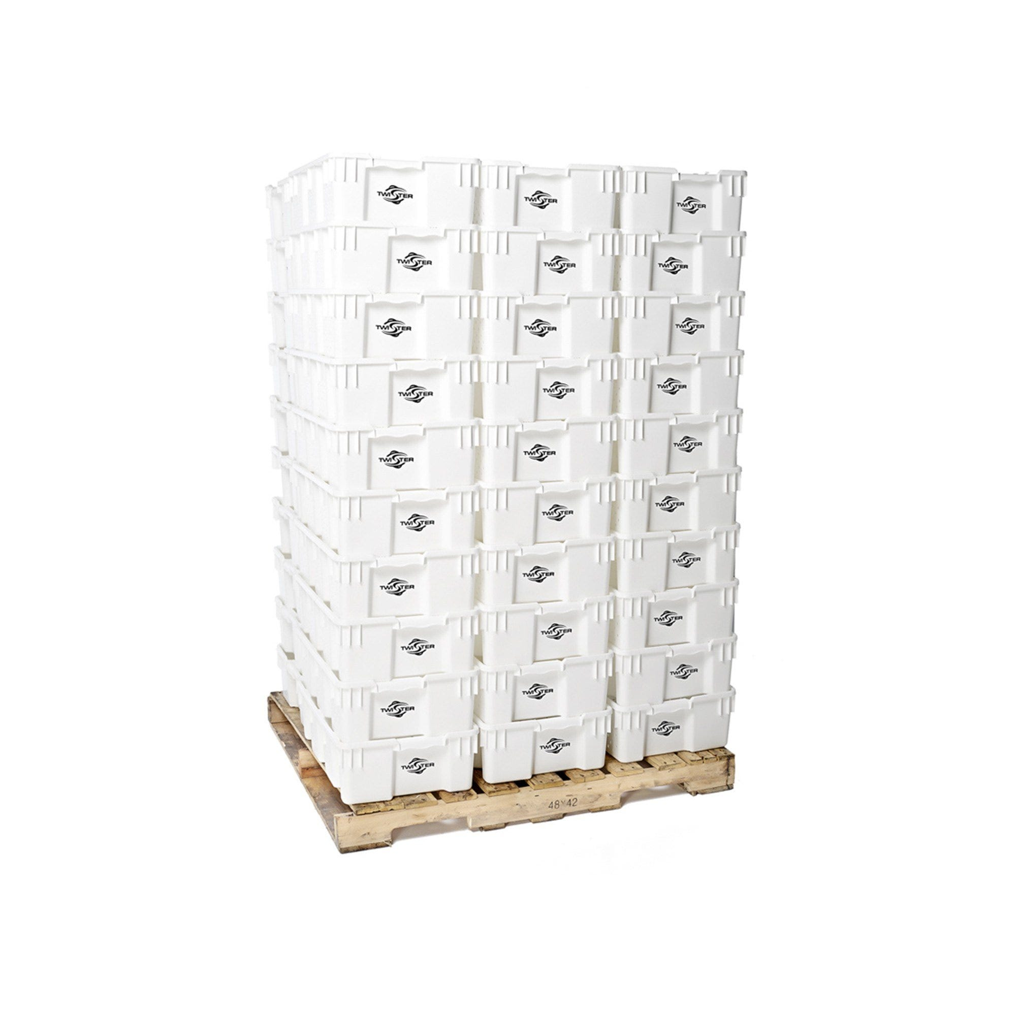 Twister Stackable Handling Tray - 100/Pack (Pallet) These trays from Twister are perfect for handling and freezing product. Designed to stack on top of each other for maximum airflow, you can easily stack 50 of these ventilated trays per palette for easy storage and movement to and from rooms or locations. High-density food-grade polyethylene is 100% freezer and dishwasher safe. Maximum durability. Trim straight into these bad boys!! Features Will stack and nest with 180-degree turn Containers will nest at a ratio of 2.5:1 Ventilation holes on sides & bottom U. V. stabilized Easy access handles Freezer safe 100% recyclable material Food-grade high-density polyethylene Dishwasher safe Dimensions 24  X 15.75  X 7.25  (OD) 22.64  X 14.76  X 7.09  (ID)