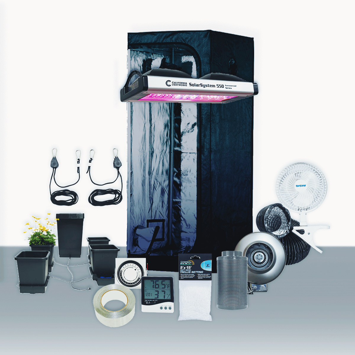 2.5' x 5' Grow Room 550W CLW LED Hydro Complete Grow Tent Package 2.5' x 5' Grow Room 550W CLW LED Hydro Complete Grow Tent Package This complete grow room tent package includes everything that you need to get started with discretely growing at home. Experienced growers designed every aspect of this tent package. They chose the parts of this package to create the best grow experience at an affordable price. Included in this Grow Tent Kit: Plant House Indoor Grow Tent - 2.5' x 5' x 73  Growers House Carbon Filter 6  x 16  400 CFM Active Air 6 inch In-Line Fan 400 CFM 6 inch x 25' Black Lightproof Ducting w/Clamps Silver Flex Duct Tape -- 5 Yards 2 x Hurricane 6 inch Clip Fan - Classic Series SolarSystem 550 Programmable Spectrum LED, 90-277V Grow Crew 1/8 inch Ratchet Light Hanger (Pair) Titan Controls Apollo 8 -- 24 Hour Dual Timer Grower's Edge Large Display Thermometer & Hygrometer Root Spa 5 Gal - Four Bucket System Grower's Edge Soft Mesh Trellis Netting 5 ft x 15 ft w/ 6 in Squares General Hydroponics pH Control Kit Plant House Indoor Grow Tent - 2.5' x 5' x 73  The Plant House Indoor Grow Tent gives you total control over your grow space. The Plant House tent is built with a reinforced full metal frame and thick, durable sheathing fabric. It features crossbars to give growers the option of hanging lighting and ventilation systems from the ceiling (maximum load capacity of 110 lbs), opening up the entire 12.5 square ft of grow space for their crop. The The Plant House Indoor Grow Tent is great for more experienced growers to use with hydroponics systems or to grow taller plants. All lighting types including HPS, MH, CMH, fluorescent, LED, and more work in this grow tent. Accessing your crop and managing airflow is easy with the Plant House Indoor Grow Tent. The Plant House grow tent has a number of inlets at the bottom and top, each with double cinch flanges allowing you to adjust the inlet diameter, and if needed. Seal them with a Velcro flap for a 100% lightp