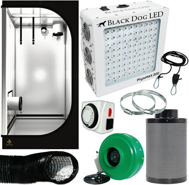 Black Dog PhytoMAX 200W LED Grow Room Package - 3 x 3 Package Contents: Black Dog LED - PhytoMAX 200W Grow Light Plant House Indoor Grow Tent - 3' x 3' x 73  Titan Controls Apollo 8 -- 24 Hour Dual Timer Active Air In-Line Fan 4  165 CFM Growers House Carbon Filter 6  x 16  400 CFM Grow Crew 1/8  Ratchet Hangers Black Lightproof Ducting w/Clamps 4  x 25' 4  Stainless Steel Duct & Hose Clamps - 1 pair Details: Black Dog LED - PhytoMAX 200W Grow Light The PhytoMAX 200 is a very compact and powerful 200 W LED grow light, perfect for smaller grows where it's important to save space without sacrificing light quality or intensity. Flowering Footprint: 2.5ft x 2.5ft Vegetative Footprint: 3.5ft x 3.5ft 200 True watts / 450 Led Watts Phyto-Genesis Spectrum Single ideal spectrum for both vegetative and flowering stages eliminates growth stalling associated with spectrum changes such as switching from MH to HPS . True full spectrum ranging from UVA to NIR (365-750nm) for ultimate flowering and vegetative plant cycles Targets not only photosynthetic (chlorophyll / carotenoid) peaks but also increases terpenes, flavonoids, antioxidants / vitamins and pigmentation with UV light Long-Life, Commercial Grade Components 200 True Watts - 450 LED Watts 90 High-Output 5-watt LEDs Plant House Indoor Grow Tent - 3' x 3' x 73  Dimensions: 3' x 3' x 73  (90 x 90 x 185 cm) Crop surface area: 9 sq ft (0.83 m^2) Recommended lighting: 150-600w HPS, MH, or LED Designed with an exceptional attention to detail Durable materials and excellent craftsmanship Latest generation of BoPET film (98% reflectivity) An extra air inlet secured with a fine mesh, sealable with a Velcro flap Easy-to-use zippers Additional side door 6 vents, diameter = 8 in 2 power ports, diameter 4inch. 3 Micro mesh windows for air flowing, size: 13.8  x 8  (35 x 20 cm) 100% lightproof Framework made entirely from powder coated galvanized steel pipes (16mm diameter) Maximum load capacity: 110 lbs (50 kg) Titan Controls Apollo 8 -- 24 Hour Dual Timer The Apollo 8™ - 24 hour pr