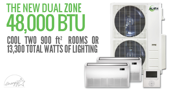 Aura Systems 48,000 BTU Dual Zone Mini-Split *DISCONTINUED* This item has been discontinued, Please try our selection of AC systems for an alternative. Aura Systems 48,000 BTU Dual Zone Mini-Split Aura Systems line of ductless mini-split DC inverted air conditioners are efficient, dependable, and affordable. Constructed of high-quality Japanese internal components, and using the highest grade pure copper coils and lines, these systems are perfect for light commercial applications. All Aura Systems mini-splits are ETL Listed and Energy Star Approved. The Aura AU-048DZ comes with two 24,000 BTU indoor units which can be placed on the floor next to a wall or mounted to the ceiling. The outdoor unit has two fans for extra power and efficiency. This dual zone system produces enough power to heat and cool two 900 ft² living spaces, or provide climate control for 13,300 total watts of vented lighting. The system also comes equipped with a wall-mounted programmable thermostat and a remote control for each indoor unit, which can read the temperature wherever you hold it. Btu/h: 48,000 Power Supply: 240V/60Hz/1 Ph Power Input: 5,550 Watts Current: 26.5 Amps SEER: 21.5 Air Flow Volume (CFM): 746 / 696 / 618 Noise Level (INDOOR): 52 / 50 /46 dB(A) Noise Level (OUTDOOR): 64 dB(A) Net Dimensions (INDOOR): 42-1/8″ x 9-3/8″ x 26-5/8″ (W x D x H) Net Dimensions (OUTDOOR): 42″ x 18-1/2″ x 52-1/2″ (W x D x H) Piping Size (LIQUID): 3/8″ Piping Size (GAS): 5/8″ 1 year bumper to bumper warranty, 5 Year compressor warranty (Void if non-quick connect unit is not installed by a licensed HVAC technician, if compressor is in attic or room without proper ventilation, or if electrical is not installed according to manual specifications)