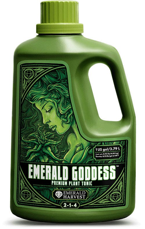 Emerald Harvest Emerald Goddess Premium Plant Tonic Note: 55 and 270 gallon sizes are already heavily discounted and do not qualify for any further discounts or coupon codes. Nurture your plants with Emerald Harvest Emerald Goddess, an invigorating premium plant tonic. We've included the goodness of earth-friendly, natural ingredients, so your hydroponic plants get the right nutrients from diverse, crop-ready sources. Encourage your plants to grow and flower proudly with Emerald Goddess. Emerald Harvest uses only the finest ingredients, because your plants—and the Earth—deserve it! BENEFITS Treat your plants to vitamin B1 and a multitude of rich, natural compounds Feed your plants humic acid for better nutrient uptake Accelerate your plants' well-being in your fast-growing hydroponic garden Emerald Harvest has taken Mother Nature's best naturally occurring elements and other components and purified and refined them into a superlative one-shot addition for satisfyingly big yields in your garden. Brimming with the finest Earth-friendly natural ingredients such as alfalfa and seaweed extracts, Emerald Goddess contributes additional macronutrients, vitamin B1 and humic acid. These are the building blocks that will enable your plants to grow strong and flower abundantly. For example, humic acid acts as a natural chelator, which helps your plants uptake micronutrients more efficiently, so that they get the most benefit from your feeding program. In fact, all of the ingredients in this hand-mixed formulation are included with a specific purpose in mind—to encourage strength, vitality and productivity in your high-yield hydroponic crops. Emerald Goddess summons the best harvest by putting the best nutrition in your garden, without any chemicals or additives that harm the Earth (or your values). Use Emerald Goddess as a supplement to any Emerald Harvest base nutrient series from early growth through the flowering phase for guaranteed professional results. Application Rate Di
