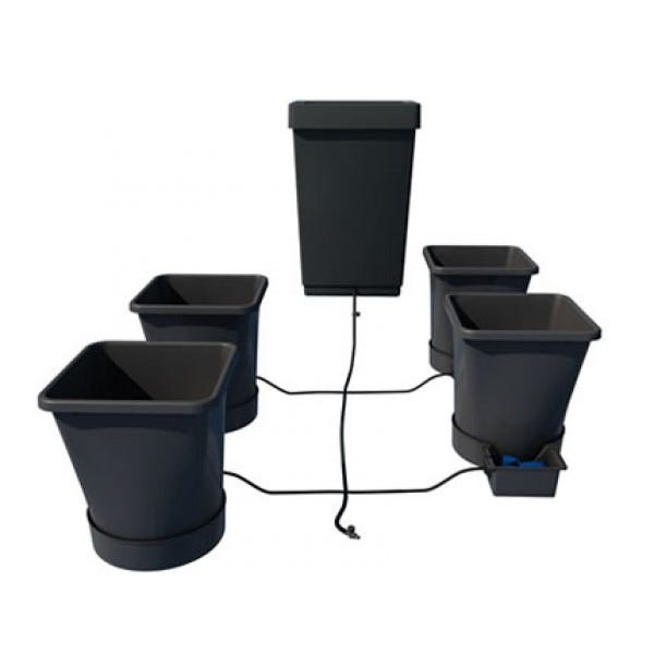 AutoPot - XL System - 4 Pot The AutoPot XL System is extremely versatile and can be used for a wide range of plant types and sizes. Seasonal flowering plants and perennial shrubs thrive and produce an abundance of blooms and foliage because of the unique action of the AQUAvalve, which is designed to allow the plant to go through a wet & dry cycle. The AutoPot XL System is easily extended so many pots can be linked to a single tank. Please see examples of typical layouts using 1/4 in pipe or 1/2 in pipe. The pots & trays can be easily moved at will, if the plants grow too large they can be spaced further apart with ease. Once set up and a tank is filled with water & liquid feed this extremely versatile system will completely take care of all your plants needs. Systems can be extended from 1 to 1000 pots from your corner to acres of greenhouses. Includes: 4x 6.6gallon pot 4x 1Pot XL tray & lid 1x 12 gallon reservoir, lid & ¼  top hat grommet 1x ¼  filter 2x ¼  cross connector 4x ¼  tee connector 2x ¼  inline tap 4x AQUAvalve 1x 13  length of ¼  pipe 4x Root Control Disc(round)